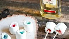 Hollowed out marshmallows filled with a flavored jelly shot and set on fire.