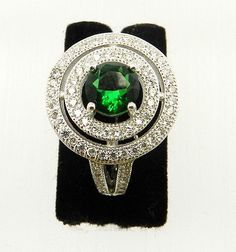 Emerald hydro 925 sterling silver Micro pave setting Cubic Zircon wedding ring #magicalcollection #rings #jewelry #silver #925silver #emerald