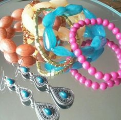 Bubdle of beaded bracelets and pair if earrings Beautiful and colorful beaded bracelets paired with a versatile teal earrings. Get this deal. Thanks for visit my closet    ▶Condition :EUC, no flaws    ▶ No trades    ▶Ask any questions :) Jewelry Bracelets