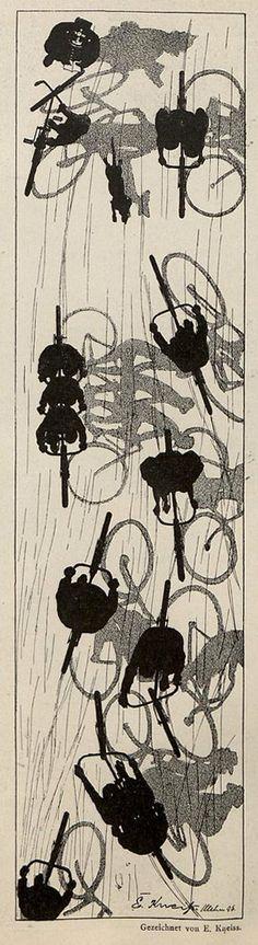 Emil Kneiss, Jugend magazine, 1896. rad racer wheels Bicycle bike cycle sykkel bicicleta vélo bicicletta rad racer wheels illustration posters graphics design biking ride cycling riding