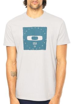 Camiseta MC Oakley Bolded Square Light Grey - Compre Agora | Dafiti Brasil