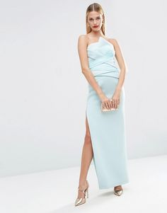 ASOS+RED+CARPET+Premium+Organza+Fold+Bonded+Scuba+Bandeau+Pencil+Maxi+Dress
