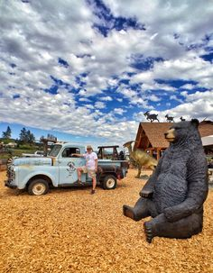 Stopped To Pick Up A Bear And A Dinosaur,   Daves Goat Walk, Armstrong B.C. ( Image By My Wife Nanae )