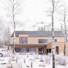 Winter retreat on Behance New Modern House, Modern Bungalow House, Modern Cottage, Modern Farmhouse, Cottage Exterior, Dream House Exterior, Scandinavian Architecture, Modern Architecture, Home Building Design