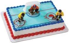 Hockey FaceOff DecoSet Cake Decoration: Score a hat trick with the Hockey Face-Off DecoSet birthday cake decoration. Set the scene for the game-winning shot with this DecoSet that includes a hockey net, two hockey players, and a goalie. Cake Decorating Kits, Decorating Tools, Hockey Party, Men's Hockey, Hockey Players, Hockey Birthday Cake, Sports Birthday Cakes, Hockey Cakes, Parties