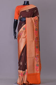 002ebb3109 Buy Chocolate Brown Zari Woven Tussar Silk Saree Online Tussar Silk Saree