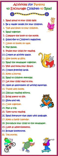 Activities for Parents to Encourage Children to Read