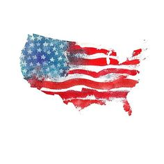 'United States Of America. Watercolor texture of American flag. USA map.' by TrishaMcmillan