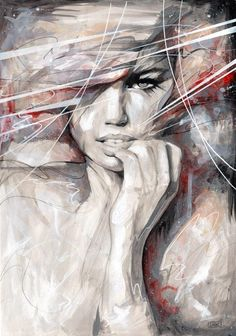 Abstract Portrait Paintings by Danny O'Connor Using similar shades of one colour works well in this portrait, the viewer is intrigued by the eyes of the person.