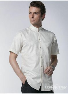Designer Mandarin Collar Mens Shirt