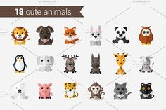 Set of Cute Animals by AntartStock on @creativemarket