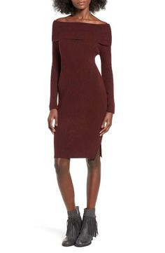 Cotton Emporium Off the Shoulder Knit Body-Con Dress