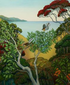 New Zealand Landscape, New Zealand Art, Nz Art, Art Diary, Maori Art, Kiwiana, Country Scenes, Asian Art, Contemporary Artists