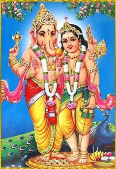 Ganesha and Kartikeya Ganesha and Kartikeya (Reprint on Paper - Unframed)<br> Ganesha and Kartikeya - Hindu Posters (Reprint on Paper - Unframed) Ganesha Pictures, Ganesh Images, Lord Ganesha Paintings, Ganesha Art, Om Gam Ganapataye Namaha, Lord Murugan Wallpapers, Ganesh Lord, Shri Ganesh, Jai Hanuman