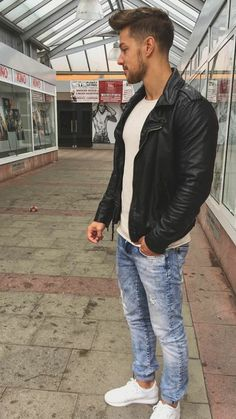 Find handcrafted leather jackets for men at Wilsons Leather. Shop our collection for genuine leather jackets in versatile styles including bomber jackets and motorcycles jackets in vintage styles. Classic Leather Jacket, Leather Jacket Outfits, Leather Jackets, Leather Jeans Men, Tight Leather Pants, Black Leather, Swag Style, Edgy Style, Boy Fashion
