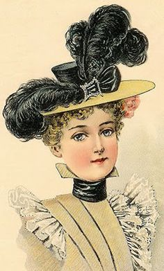 Young Ladies' Large Hat in June 1897 Merry Widow, Vintage Outfits, Vintage Fashion, Victorian Hats, Moda Vintage, Vintage Couture, Fashion Plates, Vintage Ladies, Dress Up