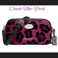 "FINAL PRICE 2xHP Ocelot Cranberry Print  100% Authentic Coach Crossbody in Ocelot Cranberry Print Coated Canvas. This compact silhouette is perfectly sized just for essentials. Size: 6.25""L x 3.5""H x 1.50""W Long strap with 22"" drop for shoulder or crossbody wear. Picture adapted from Coach website to show size.  No trades or PP. MSRP: $150 + Tax Coach Bags Crossbody Bags"
