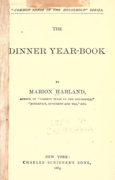 1878 Dinner Year Book, The - Harland, Marion