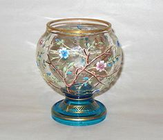 Antique-Moser-Hand-Painted-Enamel-Art-Glass-4-3-4-Vase-w-Florals-Teal-Base