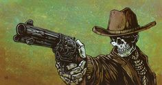 The cowboy loosens his noose and draws his revolver, ready to face his accusers. Painting Process The 21 x 11 background was painted with green and brown acrylics, the jailbird's underpainting was cre