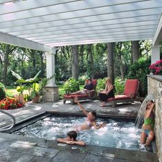 Fabulous Small Backyard Designs with Swimming Pool A Fiberglass Pergola With Hot Tub. Design Ideas, Pictures, Remodel, and Decor - page 13 Inground Hot Tub, Small Inground Pool, Small Backyard Pools, Pool Decks, Backyard Patio Ideas Hot Tub, Patio Ideas With Hot Tub, Hot Tub Patio, Small Backyards, Outdoor Pool