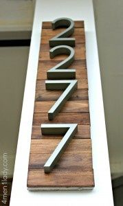 cute.  house numbers on wood <3 Barn wood & maybe horizontal