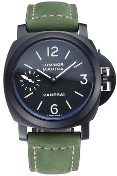 Mens Replica Panerai Luminor Marina Black Dial Ion Plated Stainless Steel Bezel Watch with Green Suede Leather Strap