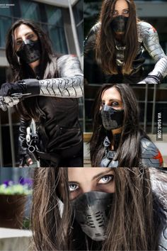 Bucky(Winter Soldier) Genderbend Cosplay<<this is damn cool Super Hero shirts, Gadgets & Accessories, Leggings, lovers Cosplay Anime, Cosplay Makeup, Cosplay Outfits, Genderbent Cosplay, Winter Soldier Cosplay, Winter Soldier Bucky, Soldier Costume, Winter Soldier Mask, Amazing Cosplay