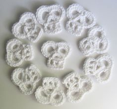 Crochet Minature SKULL Appliques Set of 10 / by JessesMomus
