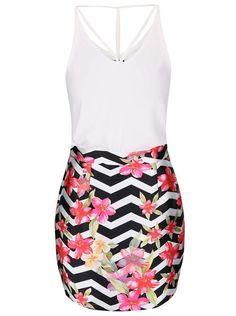 Krémové šaty s kvetovanou sukňou AX Paris