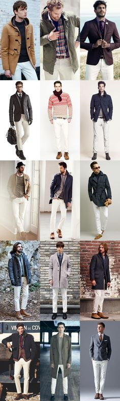 Men's White Jeans - Autumn/Winter Outfit Inspiration Lookbook