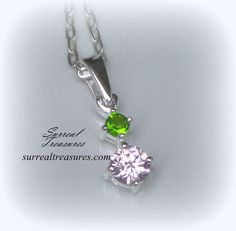 Spring Glow Necklace  Sterling silver and Pink by SurrealTreasures