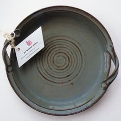 Made in USA Vegetable Dish -  Blue Gray Stoneware Pottery Pie Plate - Ceramic Baking Dish