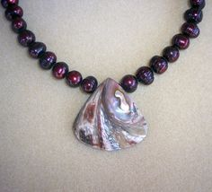 Cranberry Freshwater Pearl Choker with Shell by RiverviewBeadworks