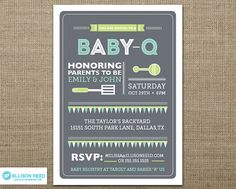 Printable baby shower BBQ invitation; These would look great printed on our eco-friendly cardstock; a great Etsy collaboration!