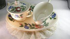 Shenandoah Valley Ware, Made in USA, Cottage Morning Glory Sugar Bowl With Lid, Gravy Boat, Serving Platter,Vintage 4pc Set, Gift For Her