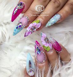 3D Custom floral rhinestone nail art