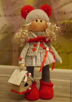 Купить Текстильная куколка Варенька - ярко-красный, кукла ручной работы, текстильная кукла, блондинка ☆