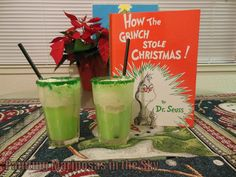 The Grinch ice cream float: Jones Apple soda, vanilla ice cream and green sugar for cup rim. Fantastic and delicious!