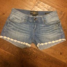 Lucky brand denim shorts These run large to size. They are in great condition except a barely noticeable light stain that is pictured. Style is Riley short. Lucky Brand Shorts Jean Shorts