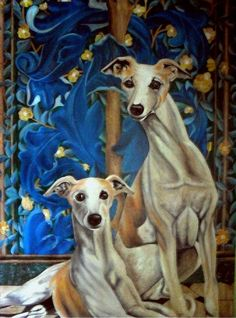 Whippets Resting in front of a tapestry, 34 inches wide x 48 inches tall x 3/4 inches deep trompe l'oeil (French for deceive the eye, pronounced, trompe l'oeil, is an art technique that uses realistic imagery to create the optical illusion that depicted objects exist in three dimensions. The docile affectionate Whippet was originally bred for racing and can obtain a speed of 37 miles per hour. The breed's natural poise and elegance is evident here. Insurance included in price