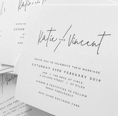 Modern minimal black and white wedding invitation