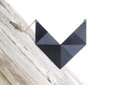 Geometric Leather Necklace Leather bib necklace от NasuKka, $59.00