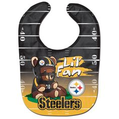 Pittsburgh Steelers Official NFL Baby Bib All Pro Style by WinCraft 209399 for sale online Novelty Socks, Novelty Gifts, Football Team Logos, Football Gear, Football Baby, New Orleans Saints, San Francisco 49ers, Pittsburgh Steelers, Steelers Gear