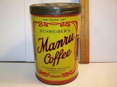 Vintage Manru Coffee tin, coffee can on Etsy, $59.95