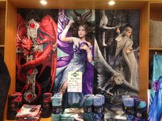 Anne Stokes Collections.  My new and favourite display come in beach towels and throw rugs..  #anne stokes #baines manchester morley  Gothic guardian Mystic aura and more