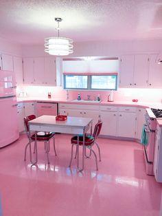 Yesterday, Elizabeth invited us to weigh in on floor tile choices for her blue bathroom Retro Renovation. Setting up the story, I came across an earlier email that I had let fall through the cracks. She had sent me a photo of her pink kitchen refresh in progress. Good news about the time lapse, though: …