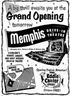 151 best nostalgic cleveland photos images cleveland ohio 1950s Theater a flyer for the opening of the late great memphis drive in starlite drive