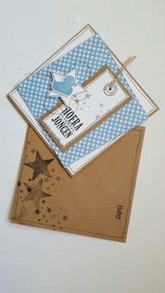 Card for baby boy combination of Stampin Up and Het Scrapbook Atelier