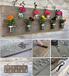 Make life lovely website shares a step by step tutorial of how to reuse baby food jars or mason jars to create a vertical garden project. Baby Food Jar Crafts, Mason Jar Crafts, Mason Jar Diy, Bottle Crafts, Baby Jars, Baby Food Jars, Table Mosaic, Fun Crafts, Diy And Crafts